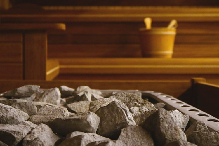 Traditional Finnish sauna with rocks